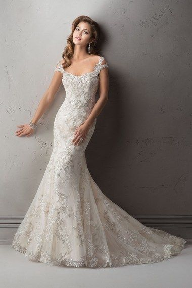 """Loving the embellished shoulder straps on the """"Ettiene"""" gown by Sottero and Midgley"""