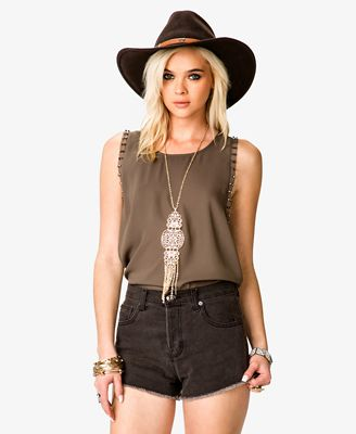 Bolt Studded Chiffon Top | FOREVER 21 - 2025052245
