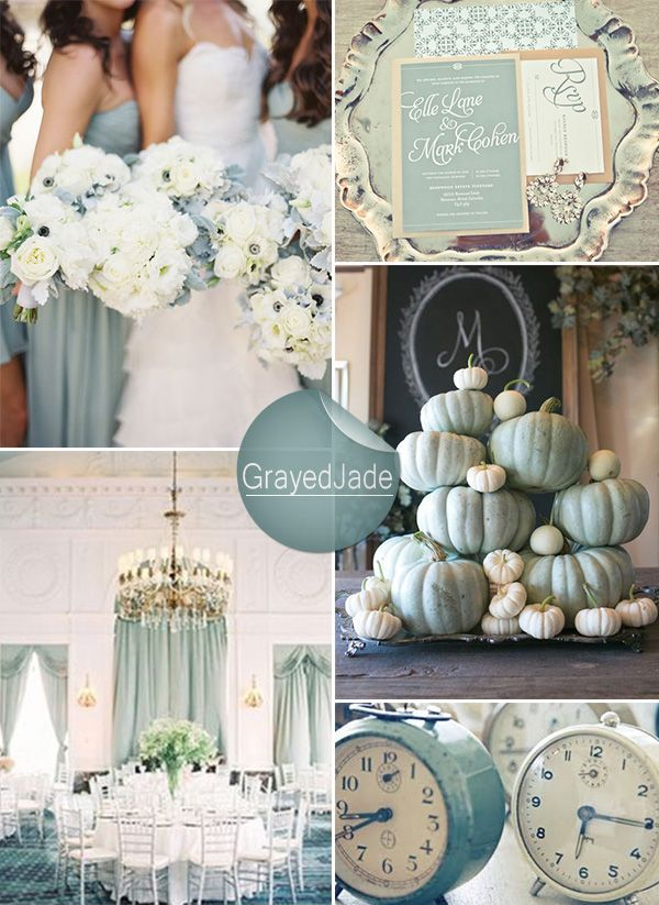 grayed jade wedding colors for winter weddings #weddingcolors