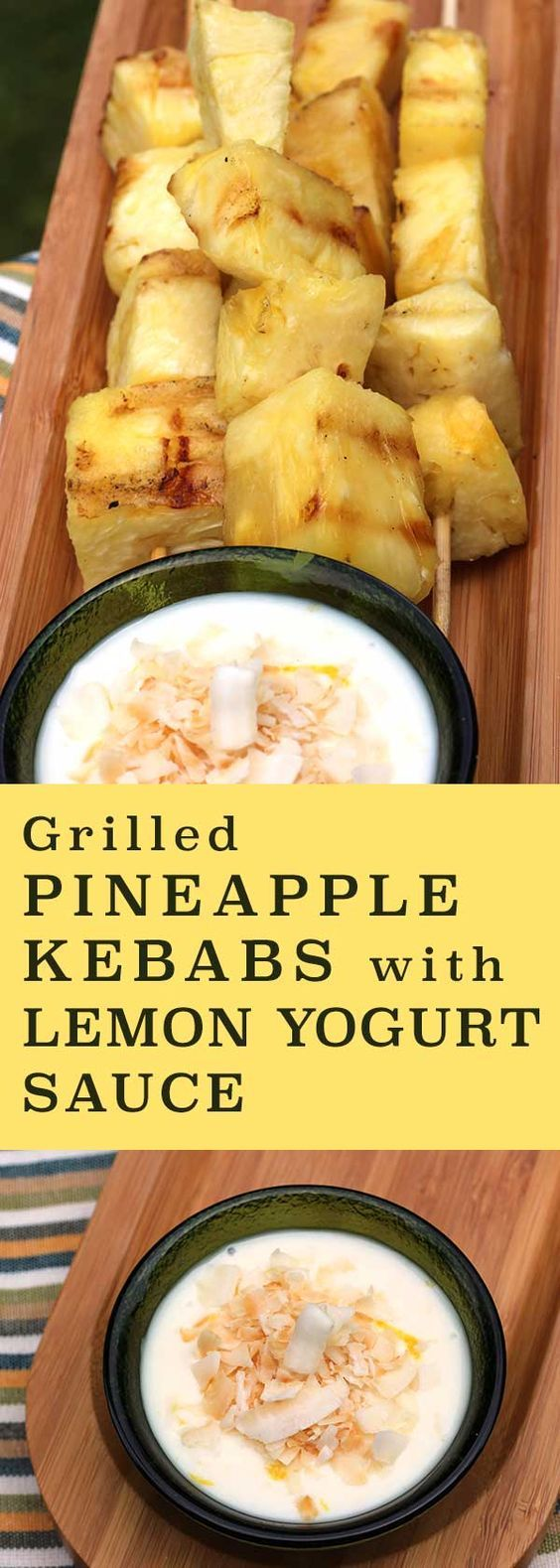 Great when the grill's fired up anyway! Leftovers make a great snack. http://www.diabeticfoodie.com/2016/05/grilled-pineapple-kebabs-with-lemon-yogurt-sauce/?utm_campaign=coschedule&utm_source=pinterest&utm_medium=Diabetic%20Foodie&utm_content=Grilled%20Pineapple%20Kebabs%20with%20Lemon%20Yogurt%20Sauce