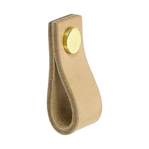 Handtag Loop - Läder Natur / Mässing- Beslag Design