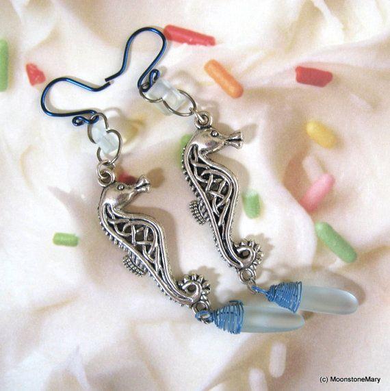 Beachglass Seahorse Earrings Shoulder Dusters by MoonstoneMary $49