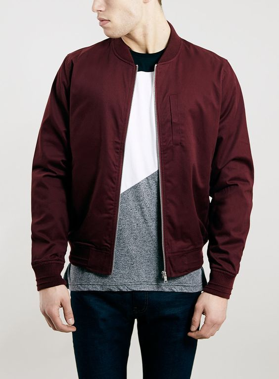 Burgundy Cotton Bomber Jacket by Topman