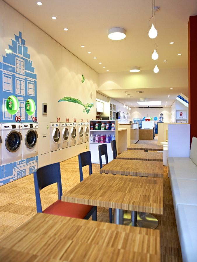 Forget dingy, muggy Laundromats, this new Amsterdam facility, Wash & Coffee, invites patrons to sip coffee, study and dine in style whilst their clothes tumble through the wash. #Retail #Innovative #Amsterdam