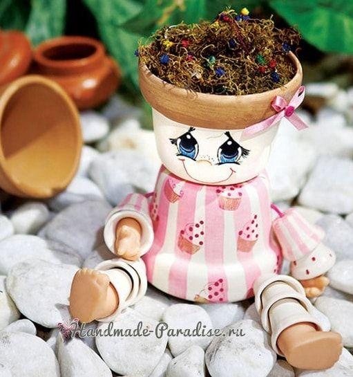 Кашпо-человечки из цветочных горшков (2)
