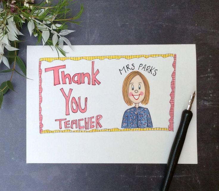 thank you teacher personalised cardteacher doodleend of