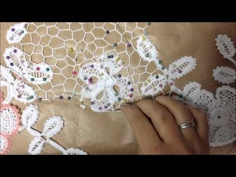 Red irregular- crochet irlandés- unión de los motivos - YouTube