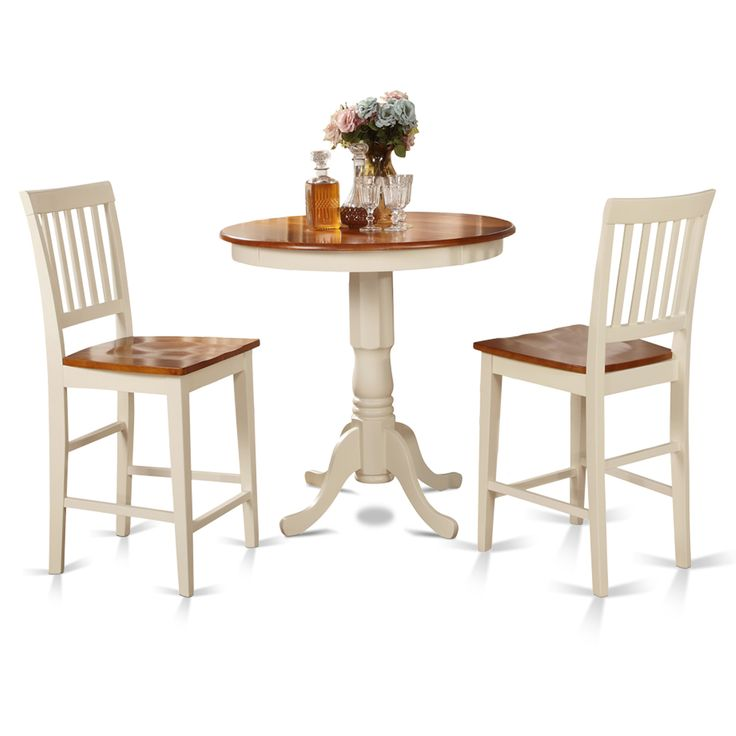 buttermilk and cherry counter height table and two kitchen chair 3piece dining set