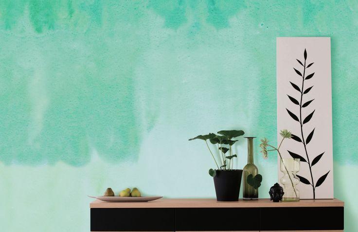 Oups ! Ma peinture à coulée partout sur le mur. Tendance déco aquarelle. #papierpeint #lepapierpeint