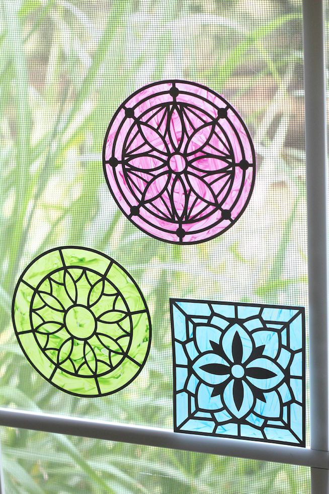 Faux Stained Glass  Silhouette Projects  Faux stained