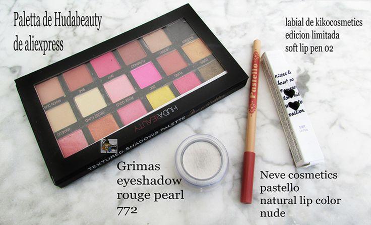 Wenos dias a tod@s! Os enseño algunos de los productos utilizados en el maquillaje de ayer. Luego os pondré por separado para enseñarlo mejor. Paleta de Hudabeuty de aliexpress. Labial de kikocosmetics edición limitada soft lip pen el 02. Iluminador de Grimas el eyeshadow rouge pearl el numero 772. Neve cosmetics de la gama pastello el lip colour natural el nude. #beauty#cosmetics#eyes#lips#shadow#pastello#nude#natural#lip#lipcolour#colour#grimas#eyeshadow#rouge#pearl#lipen#aliexpress