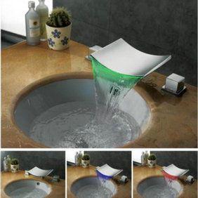 Cascade Couleur de finition contemporaine LED changeant Chrome généralisée lavabo robinet F8011