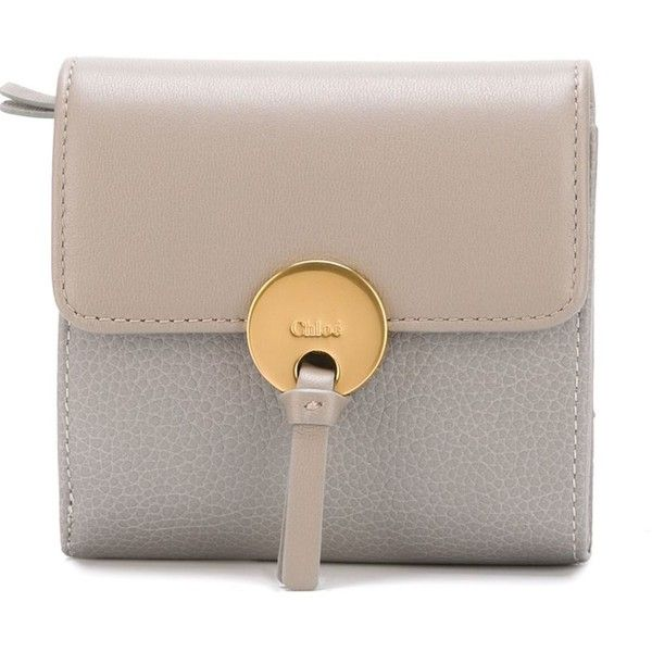 Chloé Small Indy Wallet ($452) ❤ liked on Polyvore featuring bags, wallets, grey, chloe wallet, hardware bag, chloe bag, gray bag and lock wallet