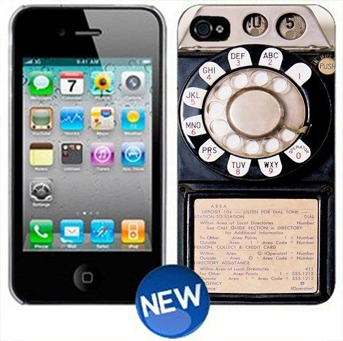 """Vintage Payphone Print On Hard Plastic For iPhone 4/4s, Black Case  This case is available for: iPhone 4/4S iPhone 5/5S iPhone 6 4.7"""" screen Samsung Galaxy S4 Samsung Galaxy S5 iPod 4 iPod 5  Please g"""