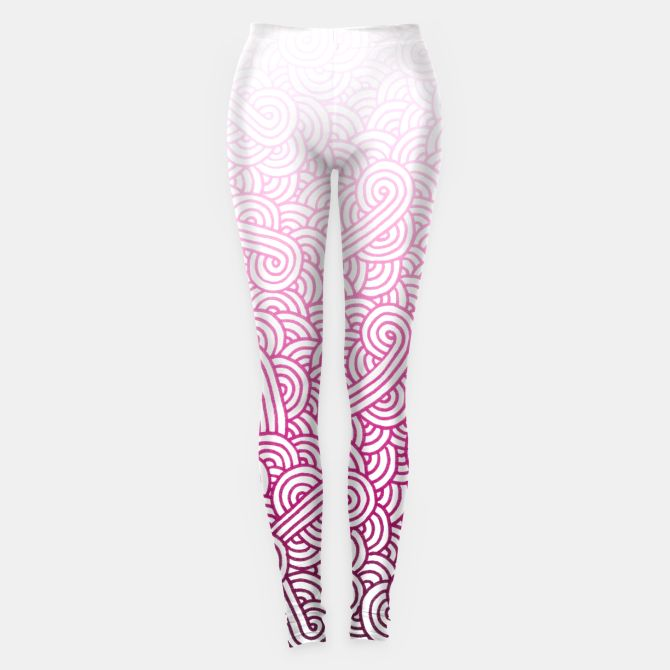 Gradient pink and white swirls doodles Leggings by @savousepate on Live Heroes #leggings #leggins #pants #ombrecolor #gradientcolor #ombrepink #pinkleggings #pinkpants #pinkandwhite #whiteandpink #magenta #raspberry #fuchsiapink #hotpink #brightpink