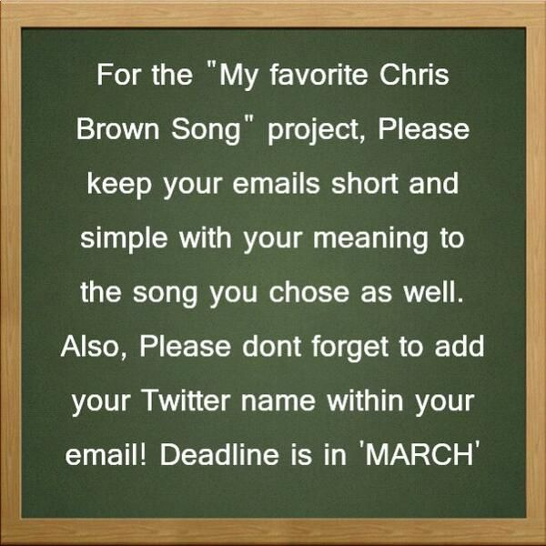"@ChrisBrownPromo's ""My Favorite Chris Brown Song"" Project 