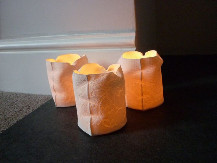Louise Hall Ceramics: 'Lys' collection, tea-light holders