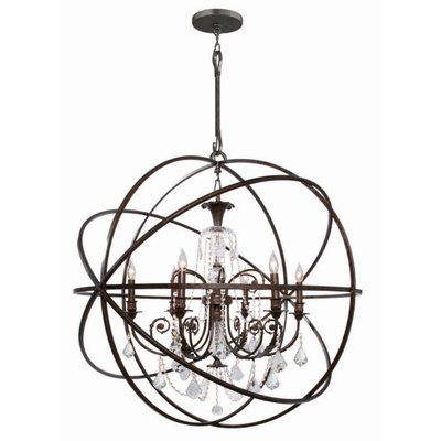 House of Hampton Hester 6 Light Crystal Chandelier Finish: English Bronze, Crystal Color: Clear Hand Cut