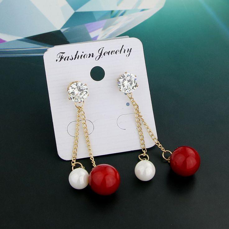 KEORMA Vintage Zircon Micro Paved Double Imitation Pearl Tassel Drop Earrings Ball Shape Double Pearl Earrings Wedding Jewelry