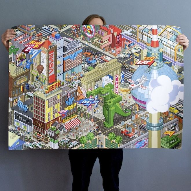 eBoy is from Berlin, eBoy is pixel art, an eBoy Berlin pixel poster is what I want --- I don't know exactly where there would be room in my small apartment, but hey…