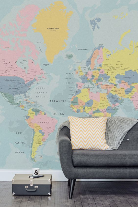 7 best Wall Murals Maps images on Pinterest World maps, Murals - best of world map for wall mural