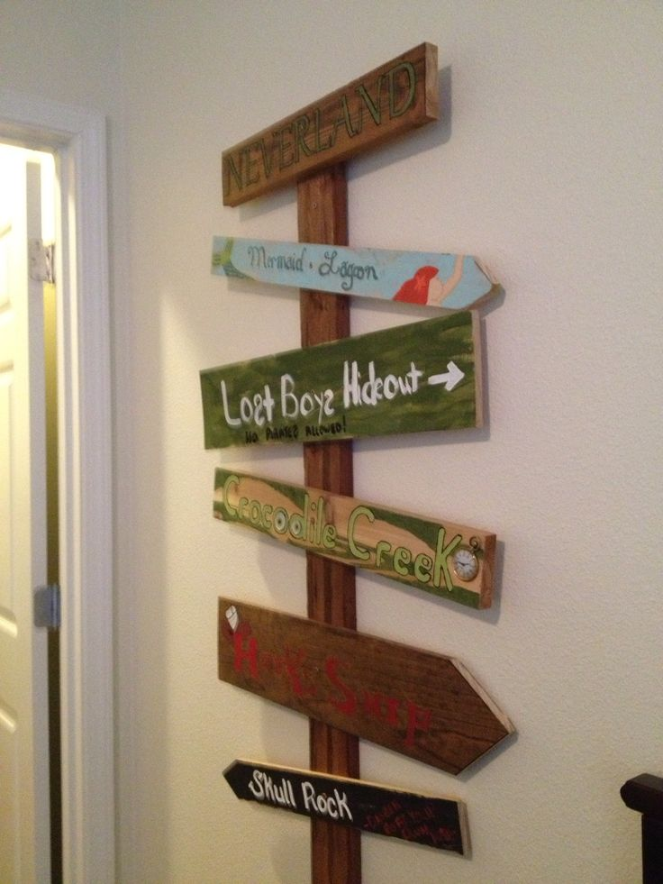 Our home made Peter Pan Directional Sign
