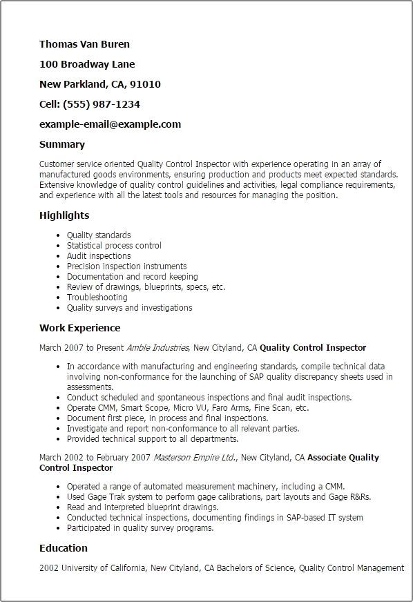 Quality Control Inspector Resume Inspections Safety Testing Quality Assurance Resume Examples Created By Pros Myper Resume Examples Sample Resume Resume