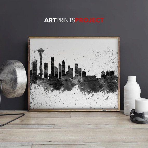Seattle art print Seattle poster Wall art by ArtPrintsProject