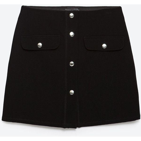 Zara Miniskirt With Press Studs ($30) ❤ liked on Polyvore featuring skirts, mini skirts, black, bottoms, short black skirt, black miniskirt, zara skirt, short black mini skirt and short skirts