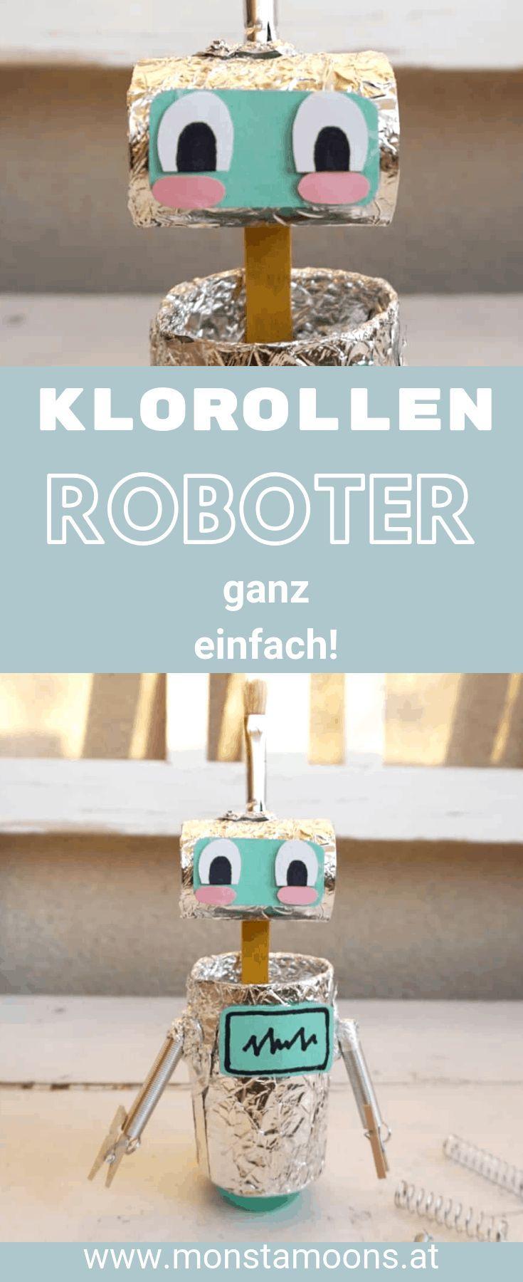 Niedlichen Roboter aus Klorollen basteln