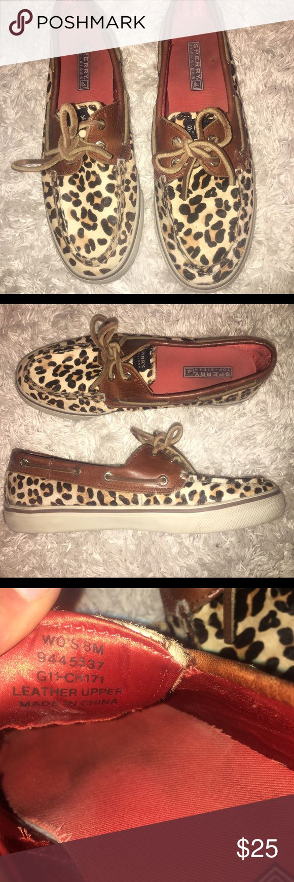 Women's Leopard Print Sperrys Size 8 leopard print sperry topsliders. In good condition. Sperry Shoes Flats & Loafers