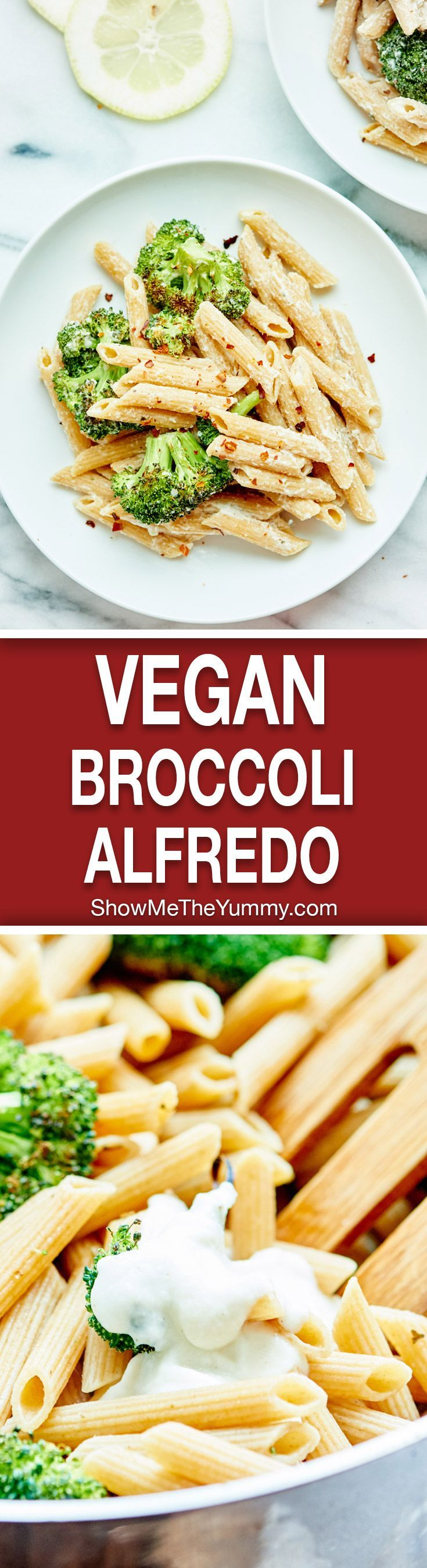 Vegan Alfredo with Broccoli - Made with a healthy cauliflower sauce, roasted broccoli, and whole wheat penne pasta! Cozy, healthy food at it's finest!