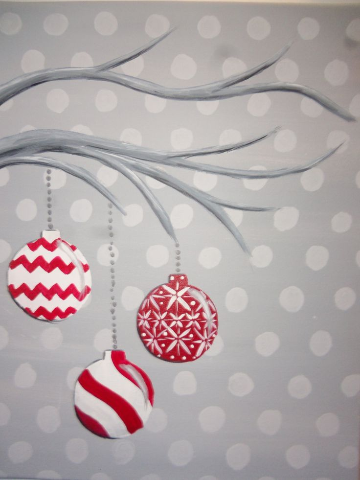 Easy canvas christmas painting ideas pictures to pin on for Christmas canvas painting ideas