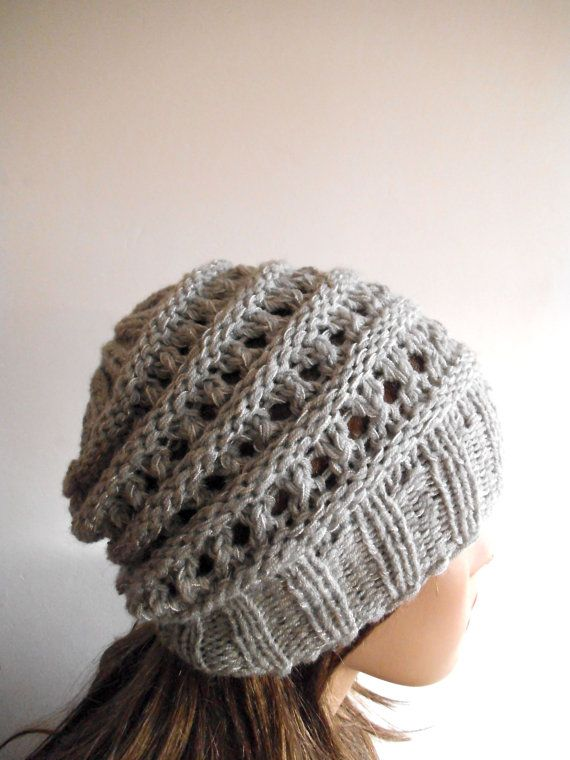 Grey Chunky Wool Hat. Slouchy Hat. Hand Knit Hat. Winter by NavaVK, $25.00