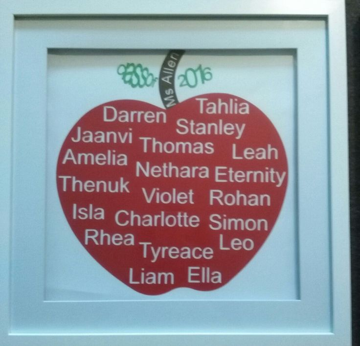 Teachers gift with students names.