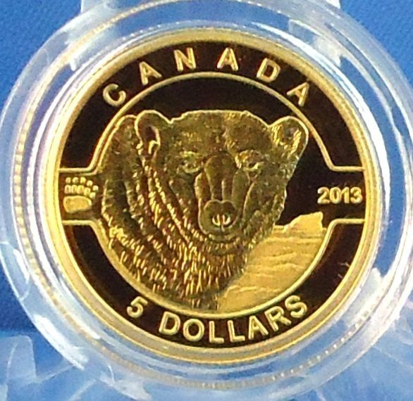 2013 $5 Polar Bear 1/10 oz. Fine Gold Proof Commemorative Coin ONLY 4,000 MINTED