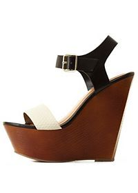 Color Block Platform Wedge Sandals