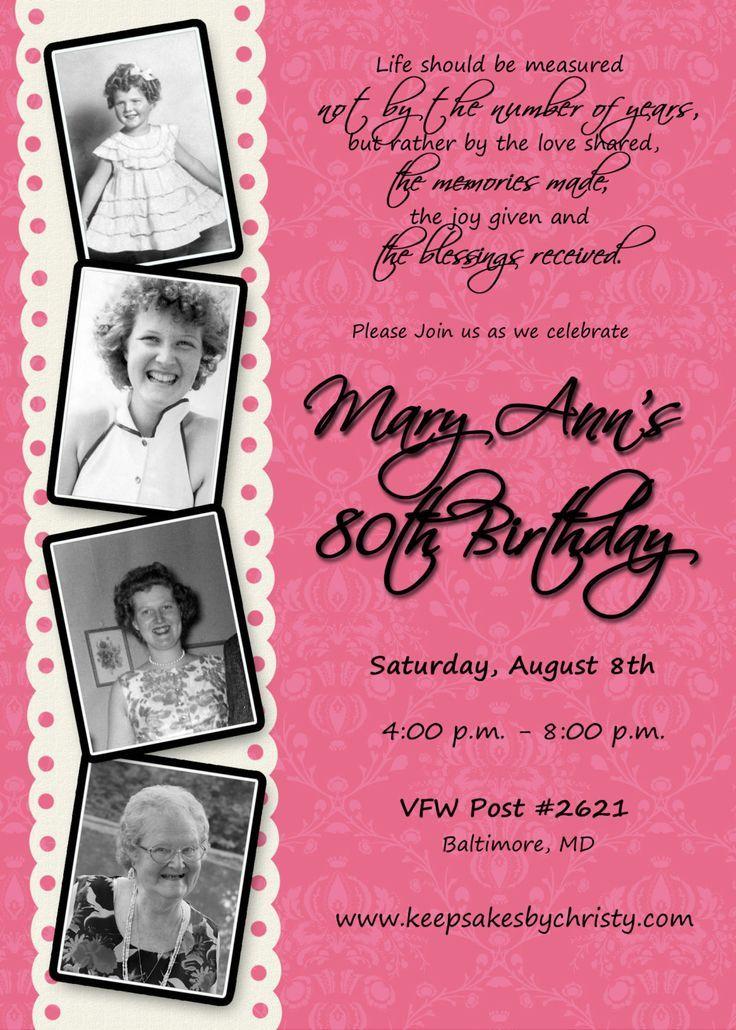 Custom Birthday Invitation... 30th, 40th, 50th, 60th, 70th, 75th, 80th, 90th. $10.95, via Etsy.
