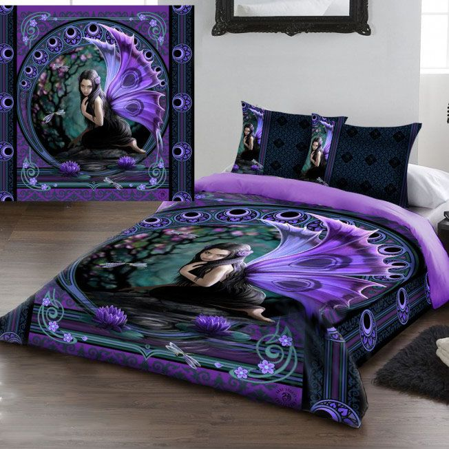 Anne Stokes Naiad Gothic Fairy Double Duvet Set. (Also in King size / Queen Size) Stunning double size duvet cover set. Featuring the Fantasy Gothic artwork of Anne Stokes. The duvet cover and edges of the pillowcases feature the Naiad fairy in shades of purple with blossom trees and luna symbolism surrounding. The back of the duvet cover is a plain lilac purple. From ANGEL CLOTHING