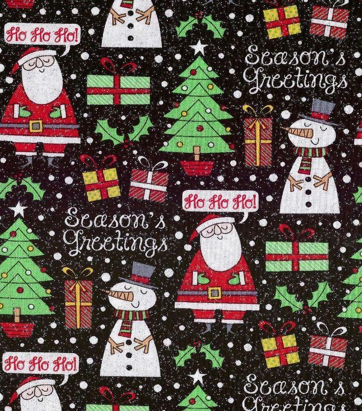 Holiday Inspirations Christmas Fabric Seasons Greetings Black Glitter