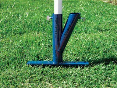 In Ground Portable Umbrella Stand Color: Blue by Original Umbrella Stand. $22.99. Holds umbrellas in soil, grass or sand. Use at the beach or any outdoor activity. Great for Sporting Events, Beach and Fishing. Easy to use, set up in 5 seconds or less. Stand stays in place.. Capable of holding 2 umbrellas - openings are 1 1/2in - the tube DOES NOT have a thumbscrew. Solid welded steel construction. Durable, last for years. Weighs less than 3 pounds. umbrella not included...