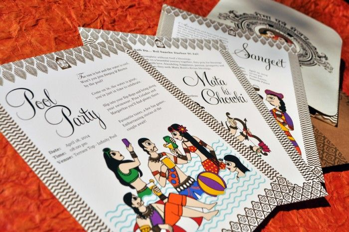 #funky #quirky #indian #wedding #card #poolparty #orange #colourful