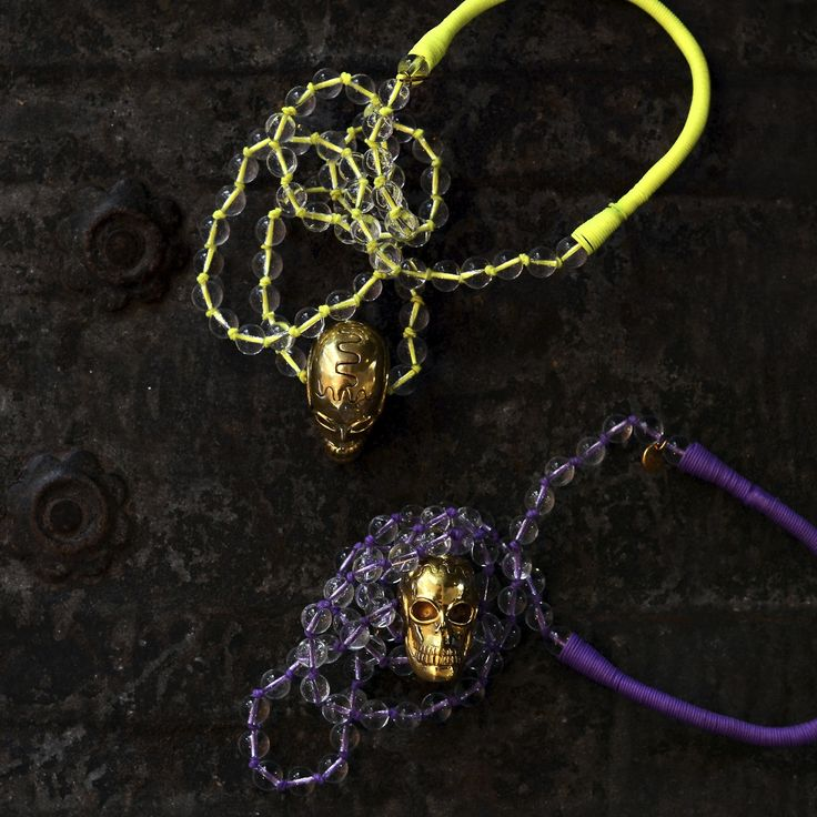PUSHMATAaHA/ Skullywag Necklaces/ Purple and Yellow Neon Threads/ Gold Skulls with Crystal Beads