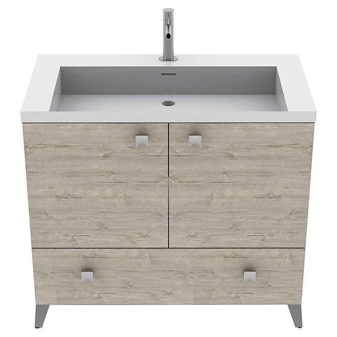 Meuble lavabo malea bois argent 36 projet montreal for Meuble avantage