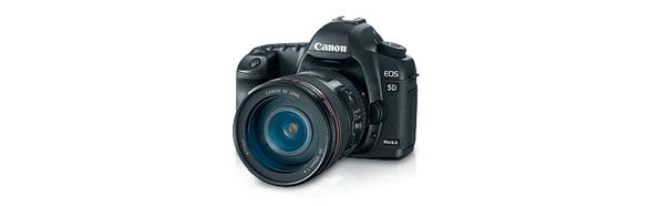 The Canon EOS 5D Mark II camera.  21.1-megapixel full-frame CMOS sensor with DIGIC 4 Image Processor, ISO range of 100-6400, Auto Lighting Optimizer & Peripheral Illumination Correction.  Shoots up to 3.9 FPS and shoots Live View HD videos!