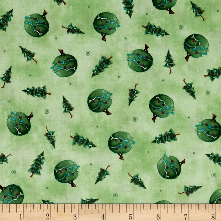 Snow Much Fun Tree Toss Green from @fabricdotcom  Designed by Stacey Yacula for Quilting Treasures, this cotton print fabric is perfect for quilting, apparel and home decor accents. Colors include shades of green, red and blue.
