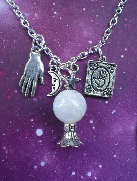 Moonstone palm reader crystal ball necklace by lotusfairy on Etsy