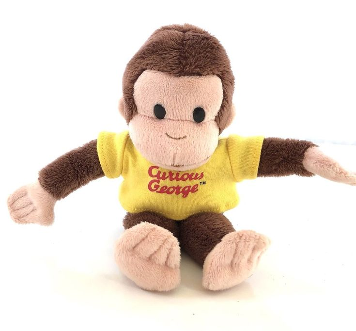 "Applause Russ Curious George Beanbag Yellow Shirt Plush Stuffed Animal 8"" Tall  