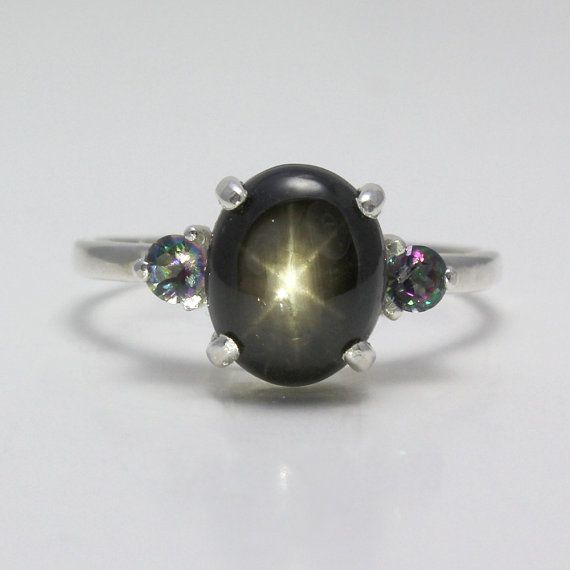 Natural 3ct 6-Ray Black Star Sapphire Ring Sterling Silver September Birthstone FREE RE-SIZING on Etsy, $115.95