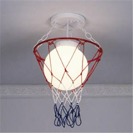 "Basketball & Net Ceiling Light: We were instant fans of these playful lights that strike it big with athletes and amateurs. Enhance your favorite theme in kids rooms, game rooms or workout areas. These rogue globes even get your closets on the ball. Painted white glass globes. 15""H x 9""W, $125"